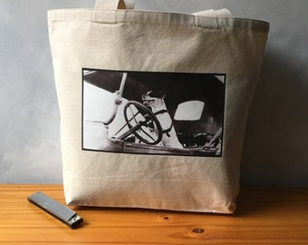 "Driving Dog | Jack Russell Terrier | Vintage Photograph |Canvas Bag | Carryall Tote | More info in ""Item Details"""