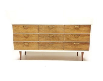 Vintage Mid Century Lowboy In White and Wood