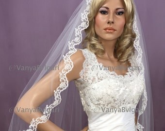 Cathedral lace veil with beaded lace edge design wedding lace veil with gathered top in classic style with full width on a comb