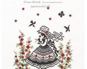 Modern Cross Stitch Patterns, Megumi Onoe, Easy Cross Stitch Tutorial, Hand Embroidery Design, Flower Garden & Girl, Black Silhouette, B1694