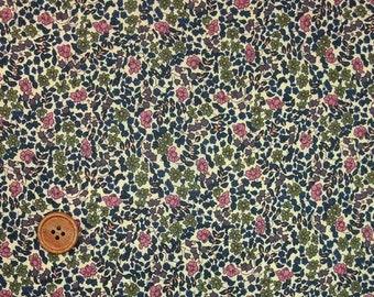 Liberty Tana Lawn Fabric, Liberty of London, Liberty Japan, Emilia's Flowers, Cotton Print Scrap,  Floral Design, Quilt, Patchwork, kt0184La