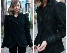 Vintage Edwardian Black Wool Jacket/ Antique Ladies Jacket/ 1900's Coat