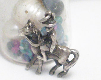 Sterling silver 3D horse man cowboy hat rider western cattle rancher theme bracelet charm necklace pendant womens fine fashion accessories