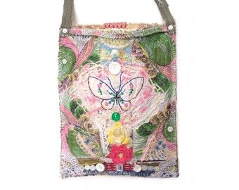 Whimsical Handmade Boho Chic Bag, Gypsy Bag,Shabby Chic, Crossbody Bag, Butterfly Bag