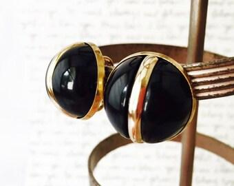 Black and Gold Earrings, Gold and Black Earrings, Vintage Black Plastic Earrings, Sarah Coventry Earrings, Little Black Dress Round Earrings