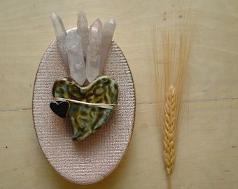 Flaming Green Sacred Heart | Crystal Wand Flames | Art Life Decor | Pink Metallic Wall Hanging | Ambient Atelier Conversation Art Design
