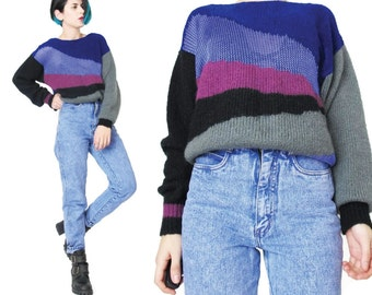 1980s Abstract Striped Sweater Color Block Black Purple Striped Sweater Womens Slouchy Sweater Vintage Winter Sheer Knit Pullover Jumper (S)