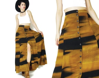 Vintage 90s Button Down Front Skirt Artsy Abstract Print Maxi Skirt Rayon Hippie Watercolor Skirt High Waisted Skirt Brown Black Skirt (M/L)