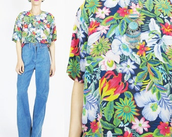 Vintage Hawaiian Silk Blouse 1990s Tropical Print Shirt Floral Silk Blouse Short Sleeves Leaves Vacation Colorful Summer Top (S/M) E416