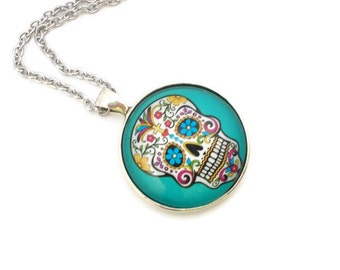 Sugar Skull Necklace, Blue Sugar Skull Pendant, Sugar Skull Jewelry, 18 inch Necklace, Day of the Dead Jewelry, Dia De Los Muertos,
