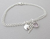 Angel Wing Bracelet, Memorial Jewelry, Memorial Bracelet, Angel Wing Jewelry, Memorial Gift, Angel Wing Gift, Sympathy Jewelry, Sympathy