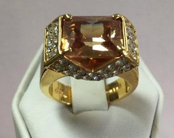 Citrine and CZ Vintage 14k Goldplated Ring Size 8