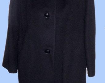 Women's 1960's Black Cashmere Coat with Silver Mink trim/ Sz Med