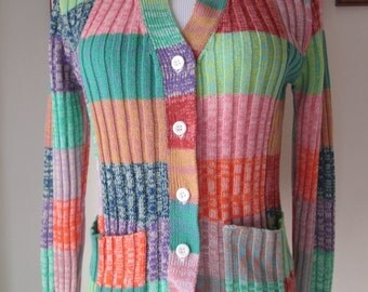 vintage 70s colorful ribbed v-neck cardigan sweater with pockets