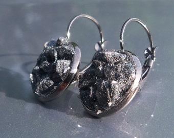 Spectral Hematite Crater Earrings Lever Back Black Tone Earrings
