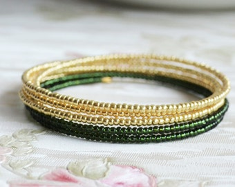 Dark green and gold bracelet Bohemian bracelet Stacking Wrap bracelet beaded Statement jewelry Boho jewery Boho bracelet Gypsy jewelry