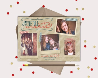 Vintage Christmas Photo Card · 4 pictures · Printable Christmas Cards · Orange and Teal