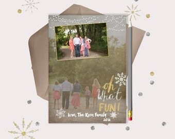 Christmas Photo Card · Oh What Fun · gold and silver fun and unique Christmas Cards · print your own · blended background photo