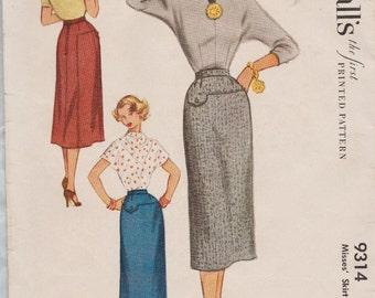 McCalls 9314 / Vintage 50s Sewing Pattern / Skirt / Waist 26