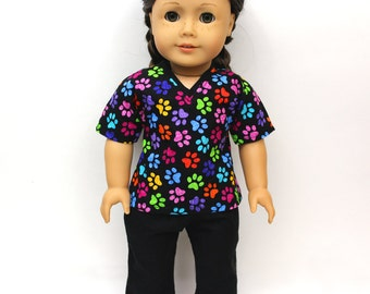 Multicolor Pawprint Vet Scrubs for American Girl and similar dolls
