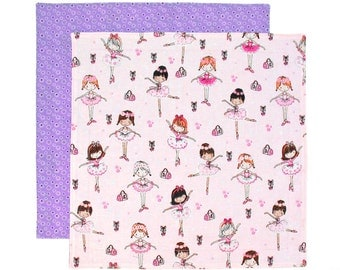 Kids Fabric Napkin, Ballerinas, Pink Purple Napkin, Kids Cloth Napkin, School Lunch Napkin, 1 double sided fabric napkin