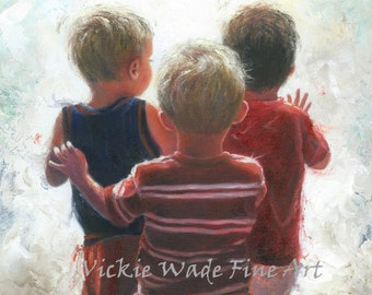 Three Little Boys Art Print, three boys, three brothers, boys room wall art, three boy cousins, triplet boys, boys waving, Vickie Wade Art
