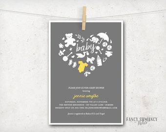 Baby Shower Invitation / Baby Icons Yellow Romper / Yellow Grey Invitation / PRINTABLE INVITATION /  #1959