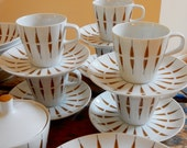Mid Mod Dish Set 32 Pcs Narumi Japan Tango 6 Place Settings Stylized Abstract Geometric Brown Feather Thin Black Stripe Elite Fine China