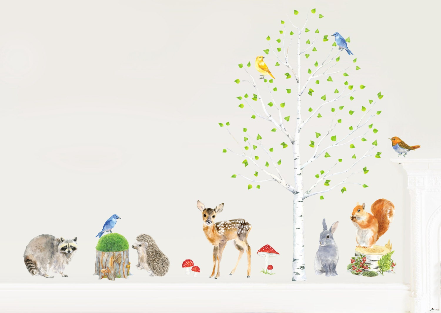 Removable Christmas Wall Stickers Nursery Forest Decor Woodland Decor Set Forest Wall Decal