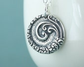 Mandala Necklace, Spiral of Life,  Zen, Ocean Beach Jewelry, Sterling Silver Crescent Moon, Gift for Women Yoga Lover, Gift for Her
