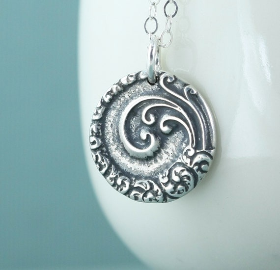 Mandala Necklace, Spiral of Life,  Zen, Beach Jewelry, Sterling Silver Crescent Moon