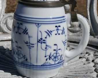 Antique Lithophane Stein, Blue and White, With Couple Dancing