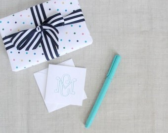 Monogram Gift Enclosure Cards | Square Folded Note Cards | Mini Note Cards | Set of 25 | Folded Stationery | Personalize Gift | Custom Color