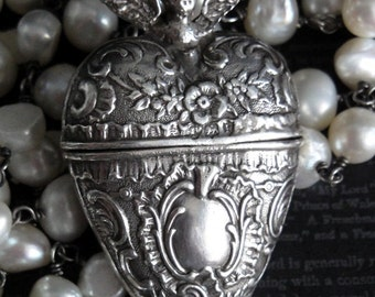 CHERUB Antique English Chatelaine Heart Locket Assemblage Necklace. Year 1892. Repousse Sterling Silver. White Freshwater Pearl Rosary Chain