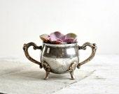 Silver Sugar Bowl, Succulent Planter, Rustic Wedding Shabby Chic Decor