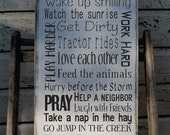 Custom Farm sign, Rustic Farm Rules Sign, Ranch Rules, Farm Rules, Cowboy Rules Sign Rustic Primitive Typography Farmhouse decor god made