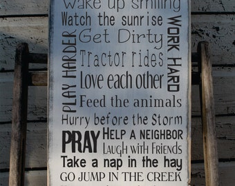 Farm sign, Rustic Farm Rules Sign, Ranch Rules, Farm Rules, Rustic Primitive Typography Farmhouse decor god made