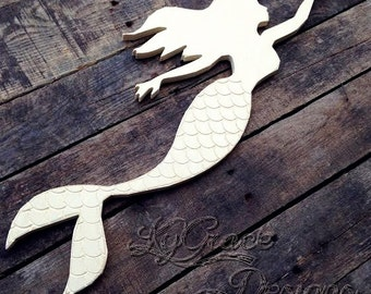 Unfinished Wood Mermaid with Engraved tail  Choose size at checkout