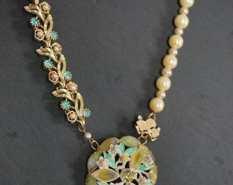 Shabby chic reconstructed vintage style pearl pendant necklace bridal found object