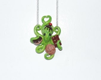 green sweet tooth cherry on top octopus necklace, donut, cookie, chocolate