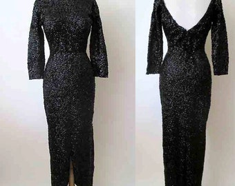 "Dazzling Extreme Hourglass Designer 1950's Black Sequin Gown Cocktail Dress by Bullock's ""Talk  of The Town"" Pinup Girl  size small/medium"