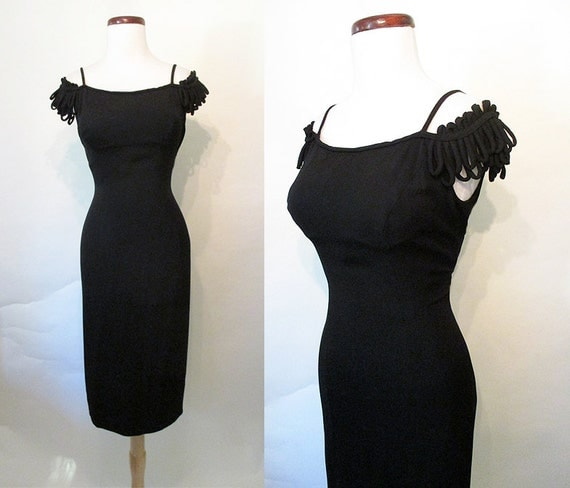 "Chic 1950's ""Peggy Hunt"" Designer Hourglass Cocktail Dress with Off the Shoulder Detail Curve Hugging Party Dress Rockabilly VLV Size-Medium"
