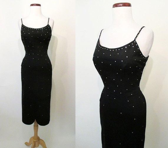 Chic 1950's Black  Cocktail Party Hourglass Dress with Rhinestones Rockabilly VLV Pinup Girl Vixen Curvy Size-Medium
