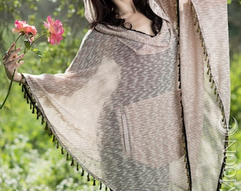 LAST ONE: The Sweater Knit Hooded Poncho with Pockets in Pale Pink Heather with Gold Tassels (Free Size)
