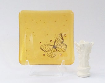 Butterfly // Fused Glass Art Dish // Trinket // Rings // Change // Amber // Golden // Small // Square // Bowl // Simple // Elegant // Pretty