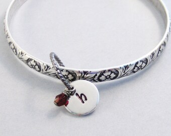 Floral Enchatment,Silver Bracelet,Bangle,Personalize,Antique Bracelet,Birthstone,Birthstone Bracelet,Birthstone Jewelry,valleygirldesigs