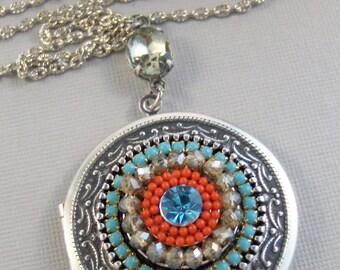 Wild and Free,Turquoise Necklace,Turquoise Jewerly,Aquamarine Necklace,Aquamarine Jewelry,Blue Locket,Blue,Mandala,Mandala Necklace,