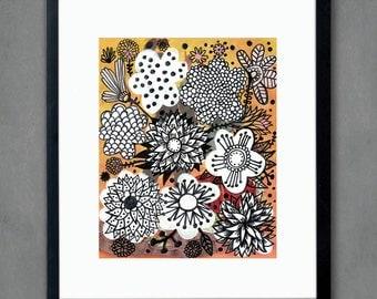 Devon Flowers - Fine Art Print. Flowers, art painting flowers, bohemian, folk, funky, naive, primitive.