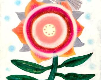 Sunflower- Fine Art Print. Sunflower, art painting flowers, bohemian, nursery decor, wall art, mexican art.