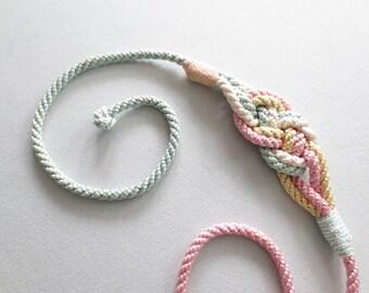 80s Belt * Pastel Rope Belt * 1980s Knotted Cummerbund Belt *